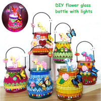 2018 Newest Creative DIY Colorful Glass Vase With LED lights Handmade Flowerpot Handcrafts Bottle Puzzle Toys For Children