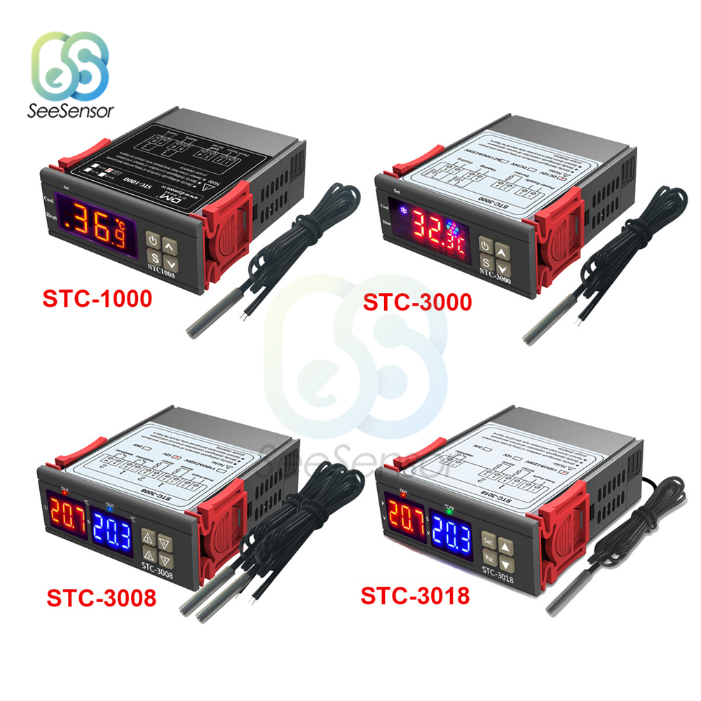 STC-1000 STC-3000 STC-3008 STC-3018 LED Digital Temperature Controller Thermostat Thermoregulator Incubator 12V 24V 110V 220V