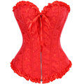Sexy Red Embroidered Zipper Vintage Waist trainer Corsets And Bustiers Slimming Body Shaper Corselet Overbust Gothic Clothing