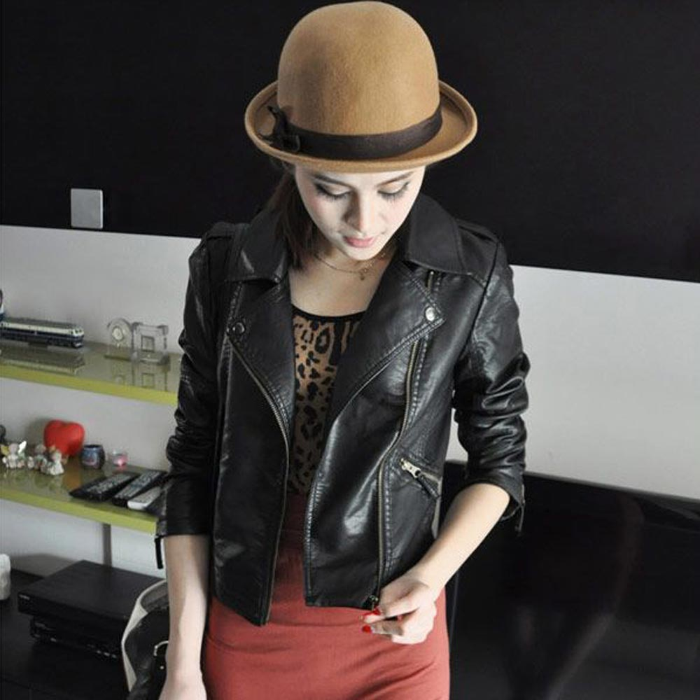 2018 New Fashion Women's PU Leather Zipper Motorcycle Bomber Jacket Coat Black