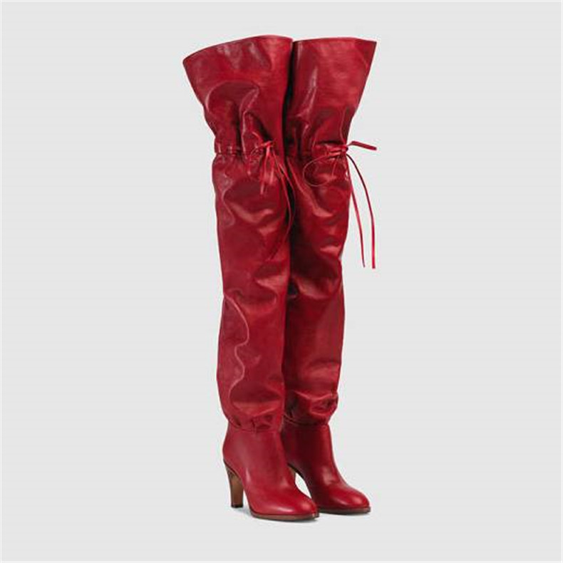Red Winter Boots Women Fashion Square Heel Over The Knee Boots Bota Feminina Split Leather Cross-Tied Wedding Party Woman Shoes