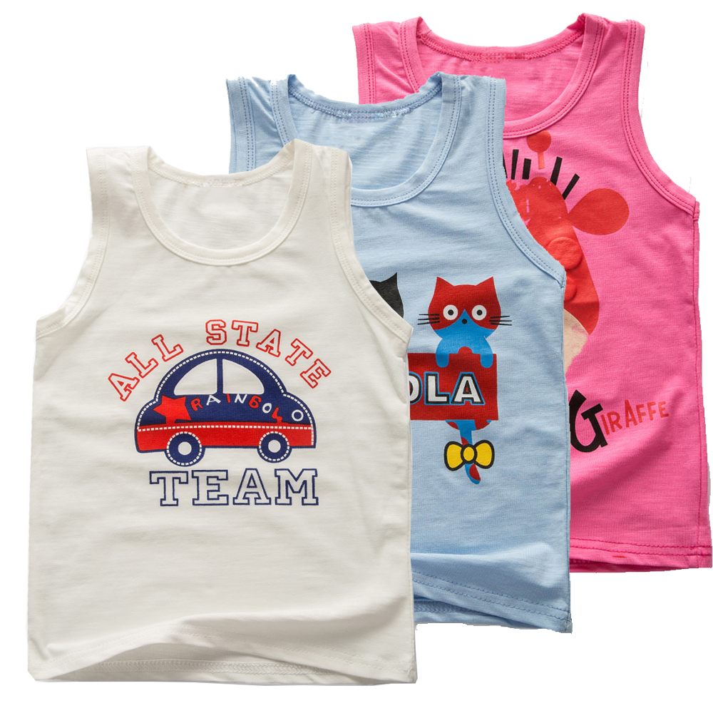 Clearance Summer Sleeveless T-shirt for Baby Boy Girl Cute Cartoon Cars Cat Giraffe Cartoon Print Cotton Vest Infant Kids Tops