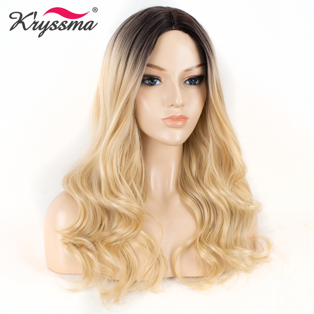 Long Blonde Synthetic Wigs for Women Wavy Wig Ombre Dark Roots to Blonde  Full Machine Made Middle Part Heat Resistant Fiber 10b93309f3
