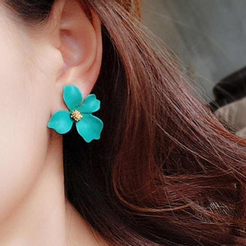 2018 New Korean Style Spray Paint Big Flower Stud Earrings For Women Fashion Summer Accessories Elegant Sweet Brinco