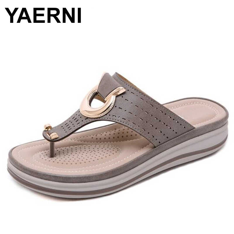 YAERNILadies Flipflop Cork Leather Slipper Women Home ShoesOffice Slippers Beach Summer Flip Flops Sandalias DeVerano Para Mujer
