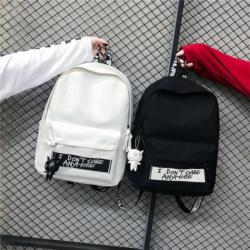 Women Canvas Backpack Women's Backpacks Doll Pendant Woman Shoulder Bag Harajuku Black Backpack Female Fashion Mochila Bagpack
