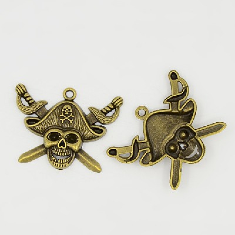 100pcs Pirate Style Skull Pendants Tibetan Style Charms For DIY Jewelry Finding Making Necklaces Antique Bronze Silver 43x34x5mm