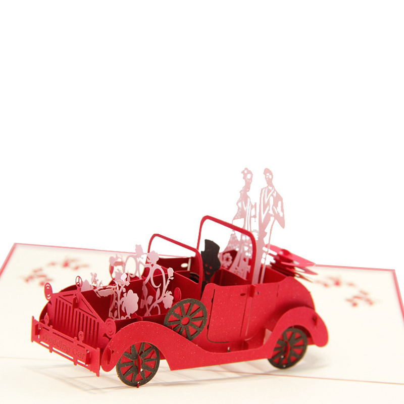 (10 pieces/lot)Valentines Day Gifts Wedding Invitation Cards Customizable Handmade Vintage Wedding Car 3D POP Up Greeting Cards