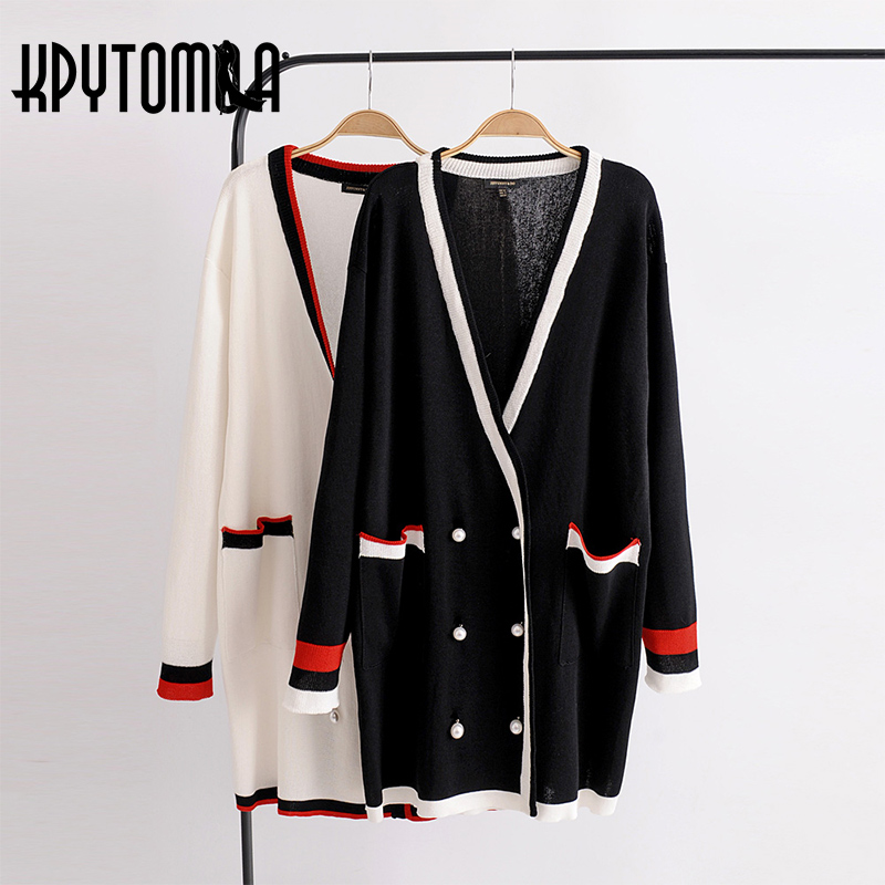 Vintage Double-Breasted Pearl Buttons Sweater Women 2018 New Fashion Cardigan V Neck Long Sleeve Outerwear Casual Sueter Mujer