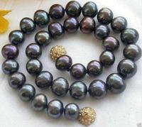 free shipping Wonderful Genuine Natural 9 10MM Black Akoya Freshwater Pearl Necklace AAA
