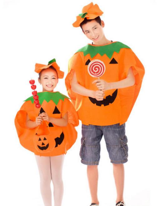 Amazing Women Men Children Kids Halloween Costume Pumpkin Outfit Clothes for Cosplay Party Cape Clothing For Adults Kids