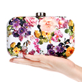 Printed Floral Design Women Pu Fashion Evening Bags Gold Metal Day Clutches Purse Leather Chain Shoulder Messenger Bag