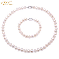 JYX Fashion Pearl Jewelry Set Pearl Set Necklace and bracelets 9 10mm White Freshwater Pearl Women Necklaces and Bracelet