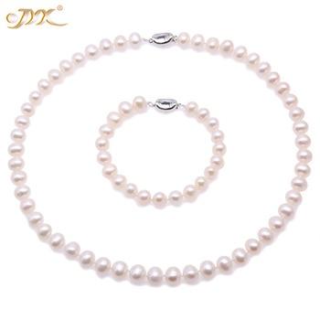 25277a899c11 JYX joyería de perlas de moda perla collar y pulseras de 9-10mm blanco perla  de agua dulce de las mujeres collares y pulsera