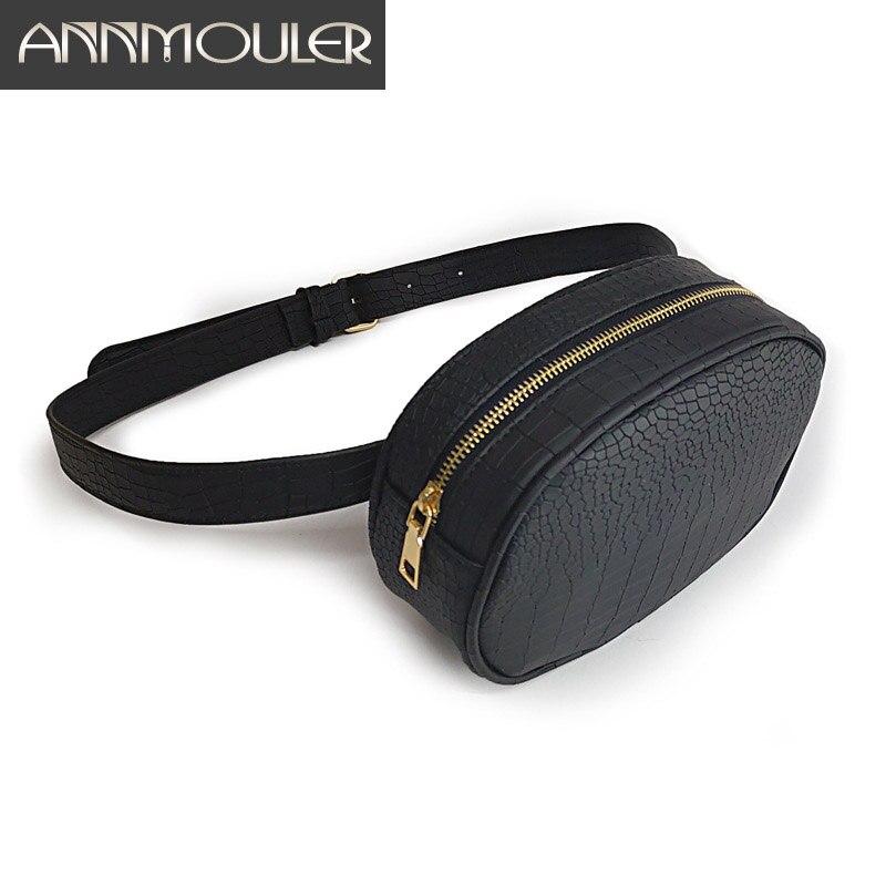 Annmouler Waist Bag For Women Alligator Fanny Pack Adjustable Strap Phone Pouch Solid Color Waist Belt Bag For Girls