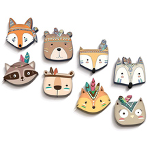 INS Nordic Style Wooden Cartoon Animal Baby Room Hanging Wall Decorations Cute Art Crafts Christmas Mural Ornament Gift for Kids