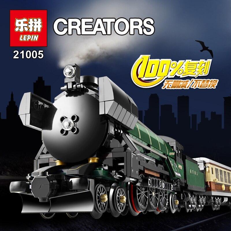ФОТО LEPIN 21005 1085Pcs Technic Series Emerald Night Train car-styling Building Block Bricks fun toys for children Compatible 10194