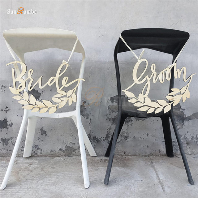wedding bride and groom chairs wheelchair ramp angle 1 set rustic sign decor ideas for hanging signs mariage party decorations wood decoration