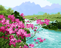 Hot Selling Frameless Landscape River Pink Flower Diy Digital Oil Painting By Numbers Modern Wall Art