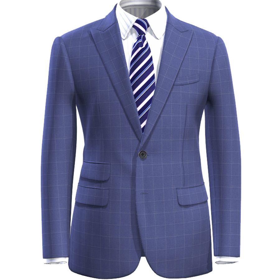 최고의 맞춤형 체크 무늬 정장 남자 블루 체크 양복 재단사 만든 남자 스타일 체크 무늬 드레스 정장 바지, 라이트 블루 캐주얼 블레이저-에서정장부터 남성 의류 의  그룹 1