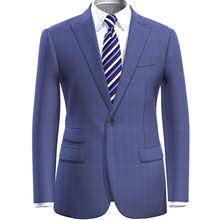 Suit Pants Blazer Checkered Dress Light-Blue Best-Tailored Casual Style Men