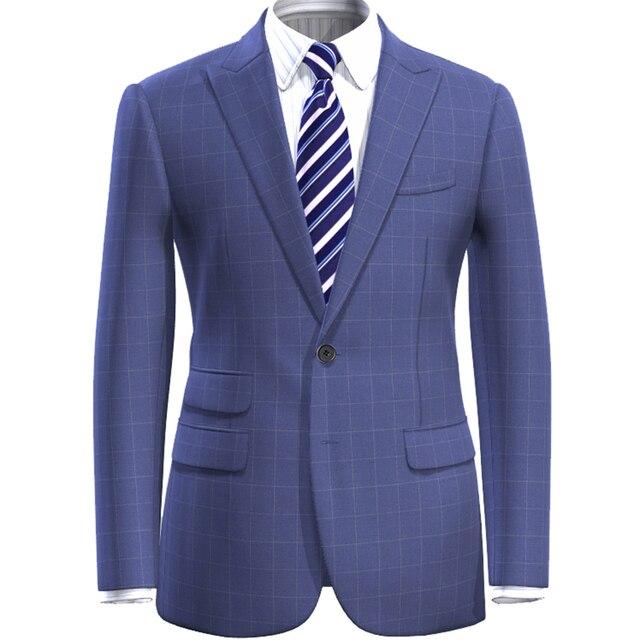 3d38892f0c69b Mejor adaptado a cuadros traje azul cheque traje hecho a medida Hombres  estilo vestido a cuadros