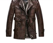 HOT 2016 winter New Men's clothes leather-based jacket Medium fashion Slim thicken sheep pores and skin heat  Faux Fur Coats Overcoat