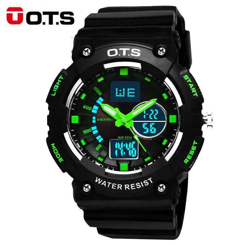 Fashion Cool Military Men's Quartz LED Digital Watch Men Sports Watches OTS Luxury Brand 50M Waterproof Relogio Masculino 2017