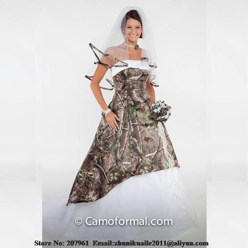 US $169.0 |White Camo Wedding Dresses 2016 Plus size Camouflage 2016 Modest  bridal gown Court train Robe de mariage vestido de noiva-in Wedding ...
