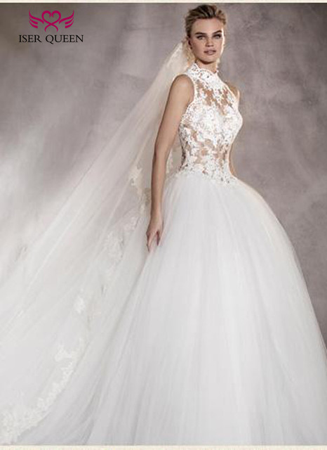 High Neck Illusion Vintage Lace Tulle Wedding Gown Princess Wedding ...
