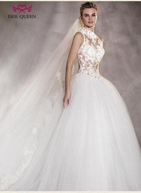 fa7a032f4f High Neck Illusion Vintage Lace Tulle Wedding Gown Princess Wedding Dress  2019 Plus Size Elegant Bridal