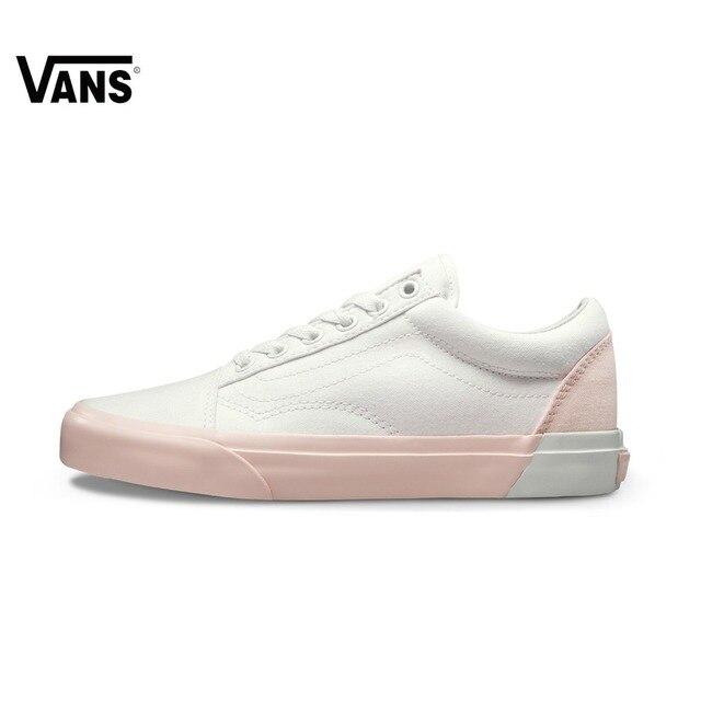 Vans Skool Velho Tênis Rosa Branca Baixo-top Formadores Mulheres Respirável  Sapatos de Skate Esportes 7a8206b82a1