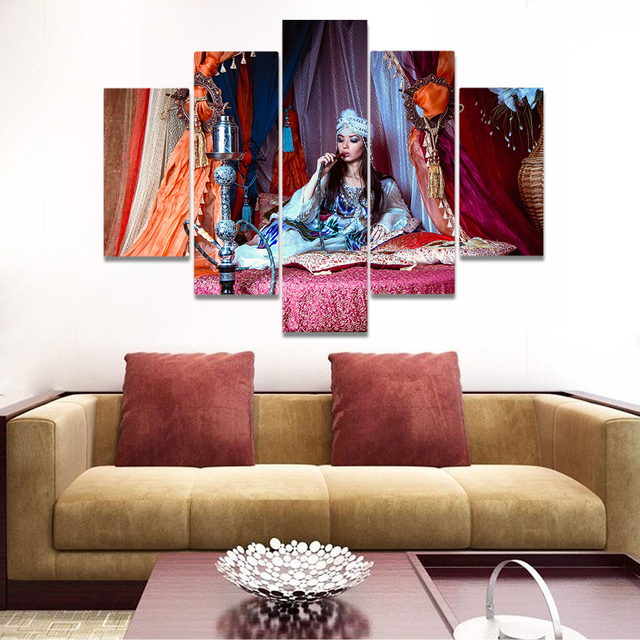 Unframed Canvas Painting Indian Beauty Sitting On The Bed Hookah Picture  Prints Wall Picture For Living