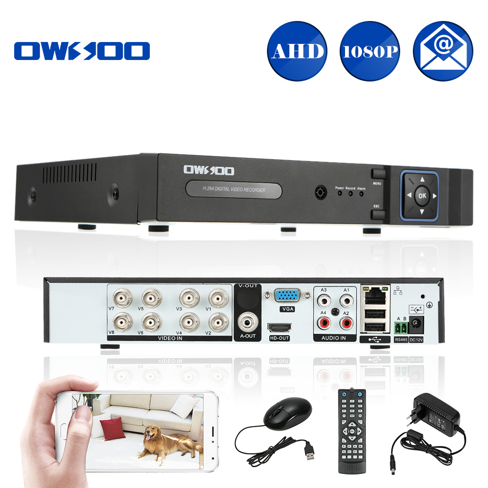 OWSOO XVR 8CH Channel 1080P Hybrid 5 in 1 PTZ Network DVR CCTV Security P2P APP