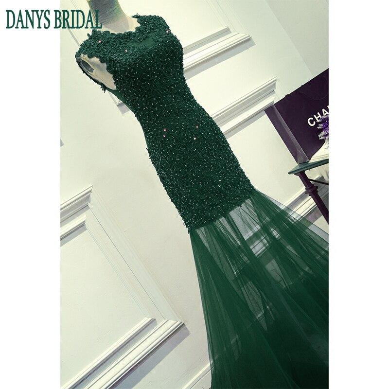 Smaragdno zelena duga čipka sirena prom haljina za djevojke ženska - Haljina za posebne prigode - Foto 5
