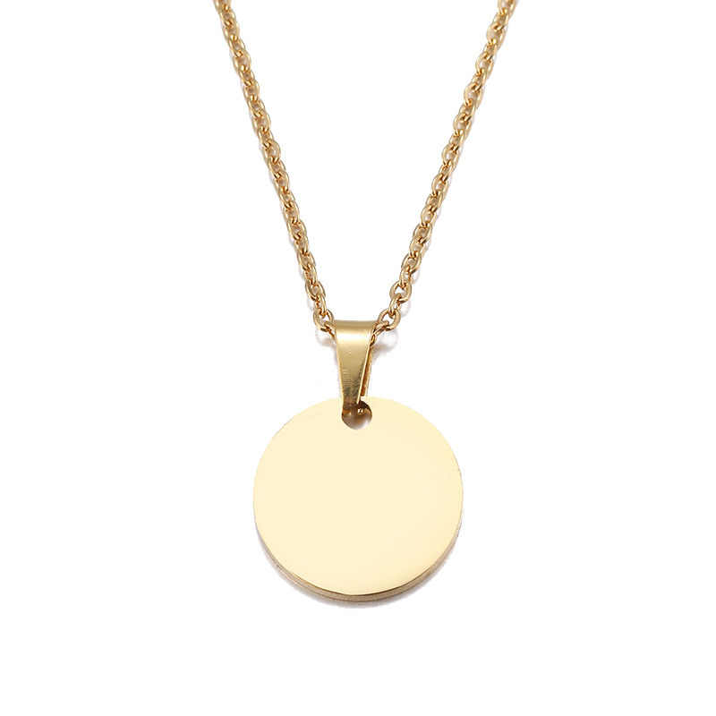 DOTIFI Stainless Steel Necklace Round Circle Pendant Necklace For Women Elegant Clavicle Necklace Wedding Jewelry Wholesale Gift