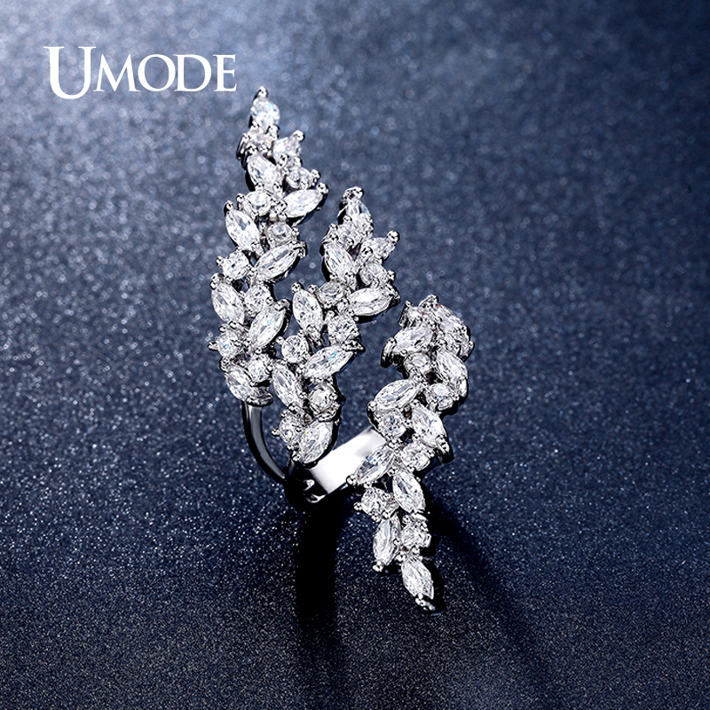 UMODE 2016 Adjustable Rings 4X2mm 0 1ct Marquise Cut Cubic Zirconia White Gold Color Ring Jewelry for Women Anillos Anel UR0318 in Wedding Bands from Jewelry Accessories