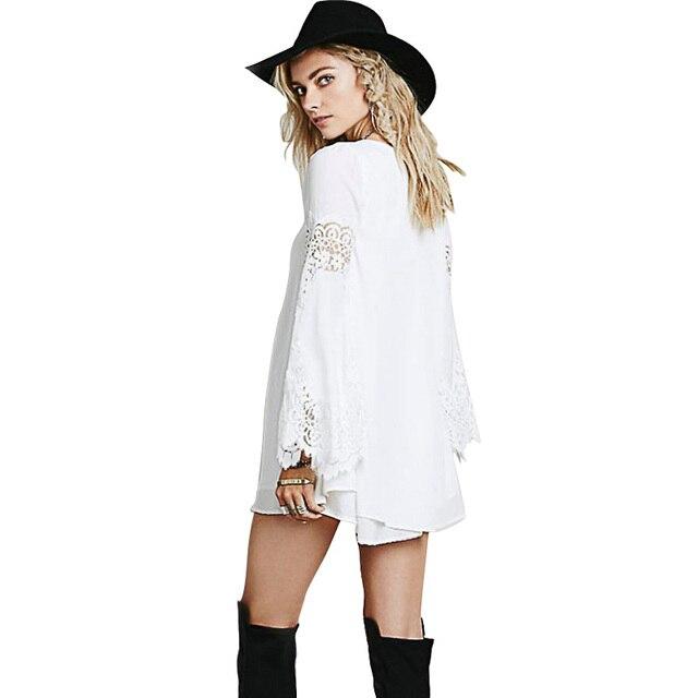 W1091 Women Maternity Lace Long Sleeve Mini Shirt Dresses A Line Loose Short Dresses Long Blouse Tops