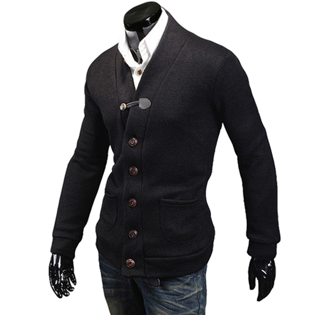 Single-Breasted Black Blue Gray Cardigans Coats Male Long Sleeve Button Up Casual Warm Sweaters Outwear Fashion Youth Knitwear