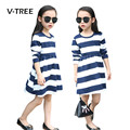 2017 Spring Girls Dress Teen Striped Dress For Girl Kids Children Fashion Long Sleeve Dress School Girls Clothes