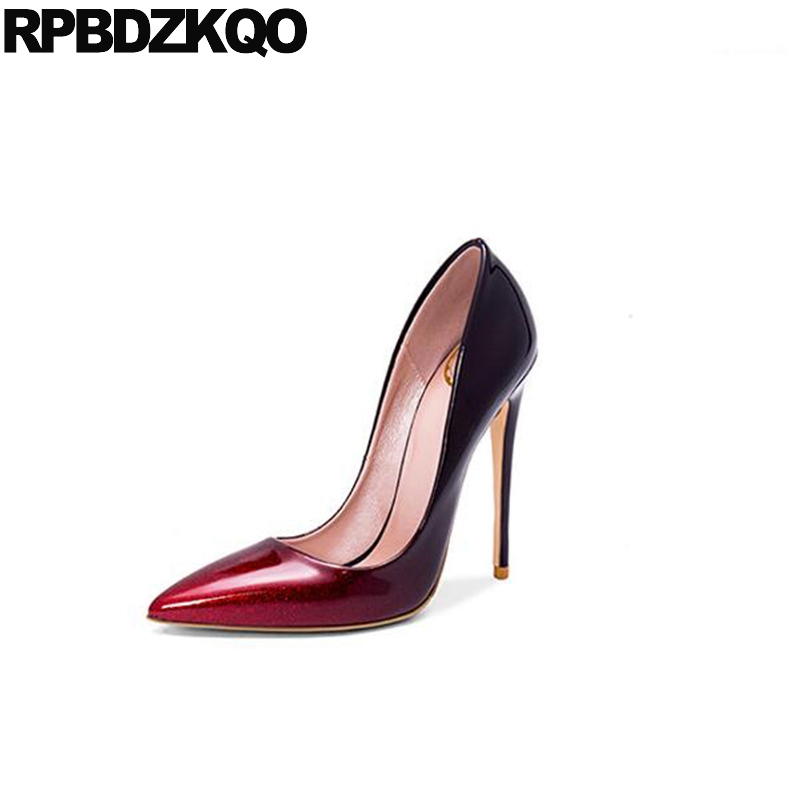 Super Patent Leather Stiletto Pointed Toe Dress Multi Colored 10 42 Ladies High Heels Size 4 34 33 Fetish Modern 2017 12cm 5 multi colored bat sleeve bodycon dress