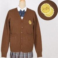 Couple Lovers Cute Kitty Bat Embroidery School Uniform Japan Sister JK Sweaters Autumn Knitted Cardigan British Style Knitwear