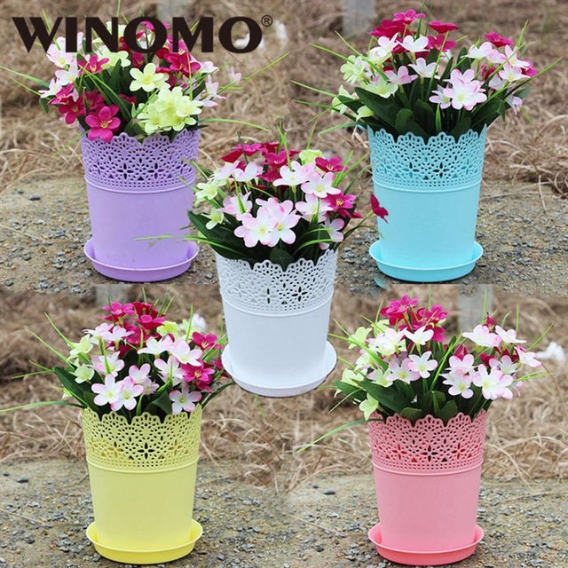 Winomo Plant Pots Plastic Flower Panter Flowerpot Garden Basket With Pallent For Home Gardening Decoration