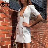 Beateen Square Collar Bandage Dress Half Sleeve Mini Button Sexy Club Party Dress Women Fashion 2019 New