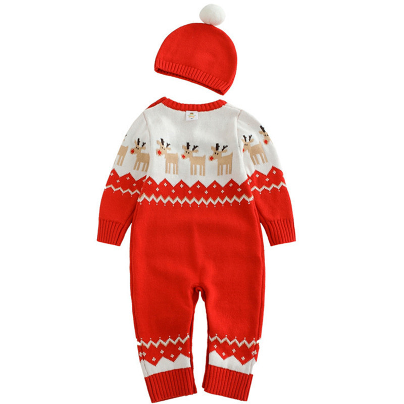 Trend Mark Autumn Winter Baby Hat Romper Suit Knitted Boy Girl Jumpsuit Clothing Layette Newborn Christmas Cotton Kids Clothes Rompers Set