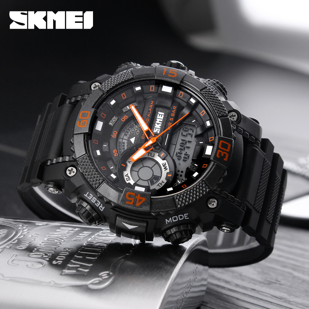 Fashion Outdoor Sports Watches Men SKMEI Brand Dual Display LED Digital analog Quartz Watch Men 50M Waterproof Swimming Watch skmei men quartz digital dual display sports watches new clock men outdoor military watch fashion student waterproof wristwatch