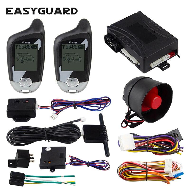 Easyguard 2 Way Car Alarm System Auto Remote Start Microwave Shock Warn Keyless 738596658649 Ebay