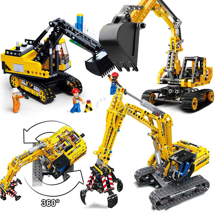 City Compatible technic MOC forklift constructor Excavator sets Vehicles Model Building Blocks Bricks Toy bulldozer