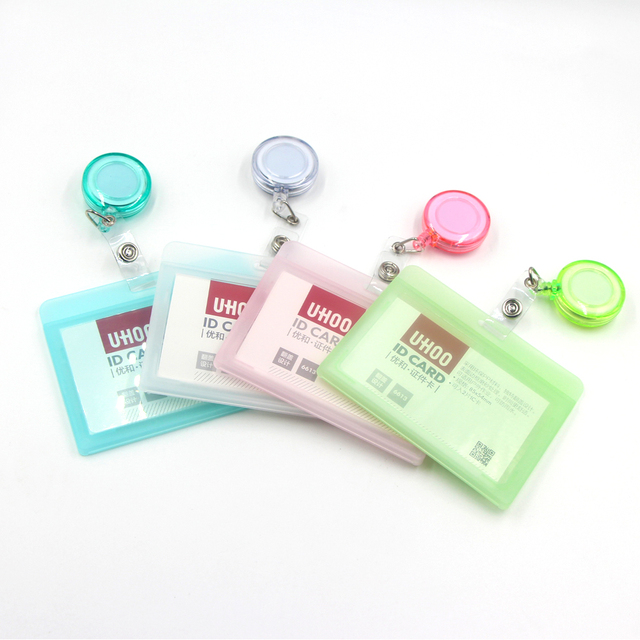 Transparent Badge Holders with Elastic Clips