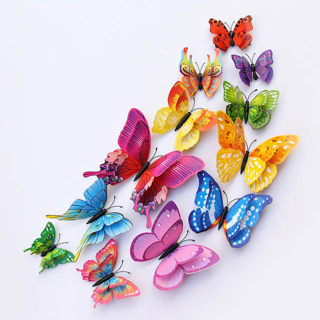 12Pcs Mixed color Double layer Butterfly 3D Wall Sticker for wedding decoration Magnet Butterflies Fridge stickers Home decor 5